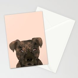 Pitbull brindle coat dog portrait cute gifts for dog lover with pitbulls Stationery Cards