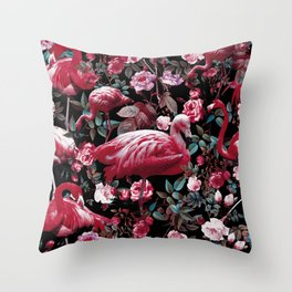 Floral and Flamingo VIII pattern Throw Pillow