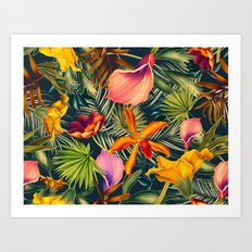 Tropical flowers and leaves pattern Art Print