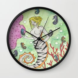 seahorses and sand dollars Wall Clock