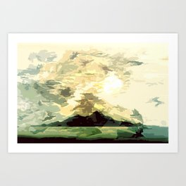 SUNSET AND HORIZON ABSTRACTLY: Art Print