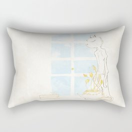 Cat Smelling Flower Rectangular Pillow
