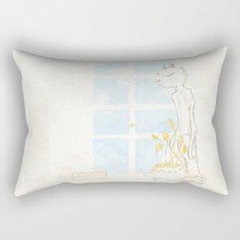 Cat Smelling Flower Rectangular Pillow