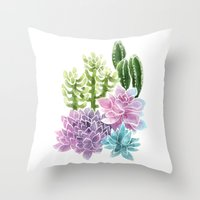 succulents Throw Pillows featuring Succulents by Megan Alcock