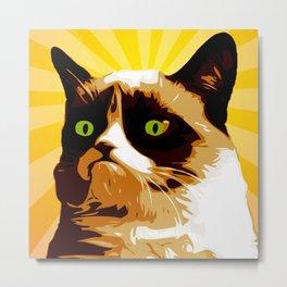 Cat Grumpy - Pop Art Metal Print