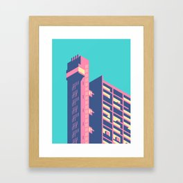 Trellick Tower London Brutalist Architecture - Plain Sky Framed Art Print