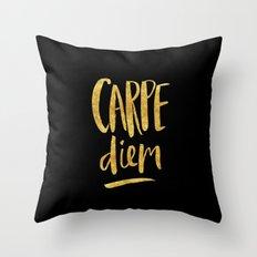 Carpe Diem in Gold Foil Throw Pillow