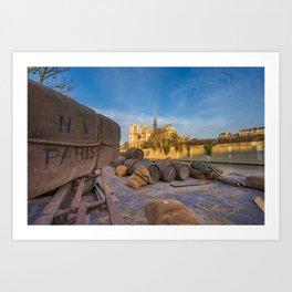 Docks of Notre dame de Paris Art Print
