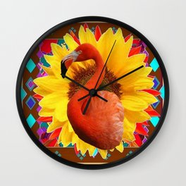 COFFEE BROWN SUNFLOWERS ART DECO SAFFRON FLAMINGOS ART Wall Clock