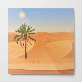 Desert Traveler Midcentury Style Illustration Metal Print