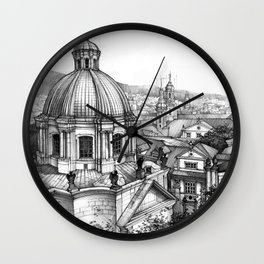 Prague over the rooftops Wall Clock