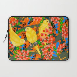 Canaries on Red Laptop Sleeve