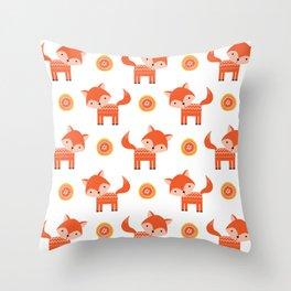Orange Fox Throw Pillow