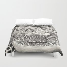 BioTechnological DNA Tree and Abstract Cityscape Duvet Cover