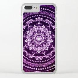 Purple Glowing Soul Mandala Clear iPhone Case