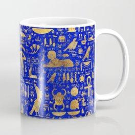 Ancient Egyptian hieroglyphs -Lapis Lazuli and Gold Coffee Mug