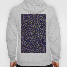Maritime Anchors pattern - gold anchors on darkblue background Hoody