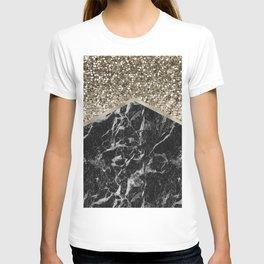 Shimmering golden chevron black marble T-shirt