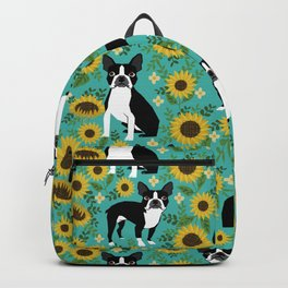 Boston Terrier sunflower floral dog breed pet portrait pet friendly pattern dogs gifts Backpack