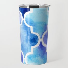Moroccan quatrefoil pattern in watercolor Travel Mug