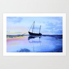 Single Boat Seascape Art Print