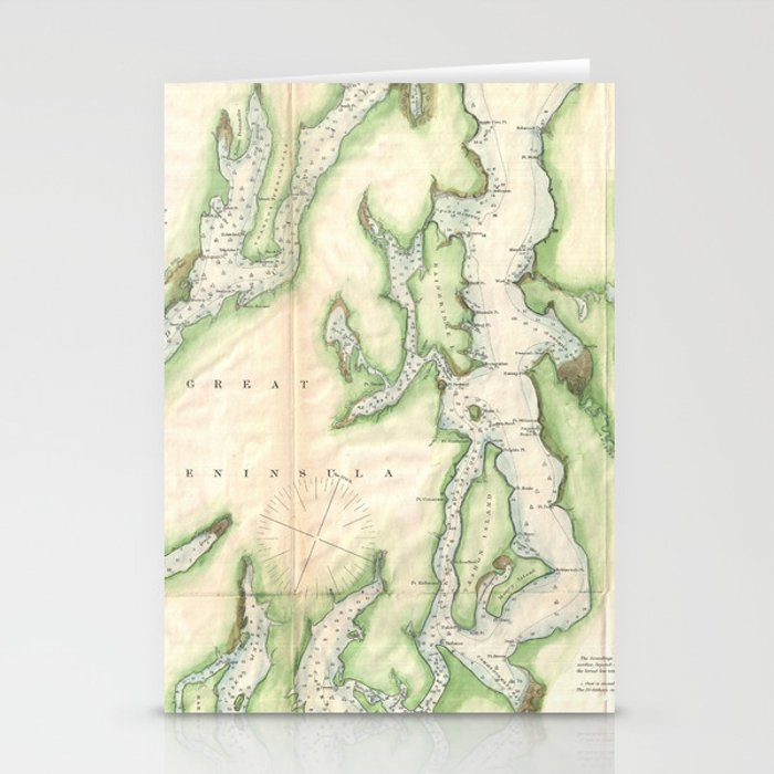 Vintage Map of The Puget Sound (1867) Stationery Cards