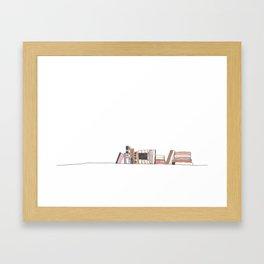 Bookshelf in Blush Framed Art Print
