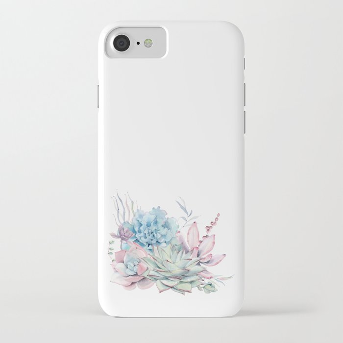 pretty pastel succulents iphone case