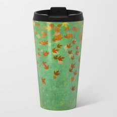 My favourite colour: OCTOBER - Indian Summer - Gold autumnal leaves Metal Travel Mug