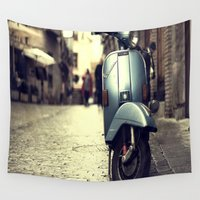 vespa Wall Tapestries featuring Rainy Day Vespa by ExperienceTheFrenchRiviera