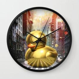 The Golden Rubber Duck Wall Clock
