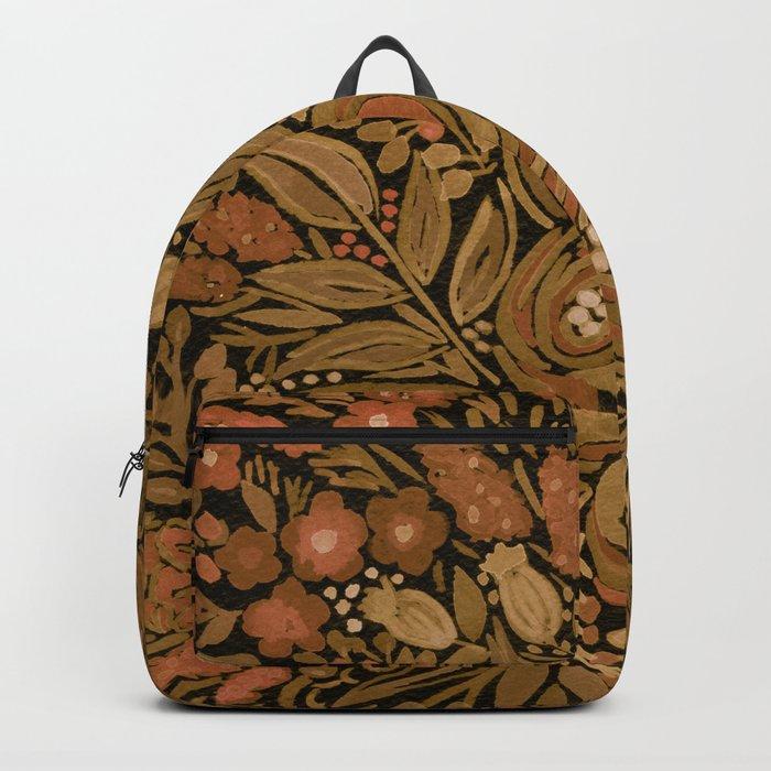 Watercolor .   Black brown floral pattern . Backpack