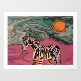 Zebra on Mars Art Print