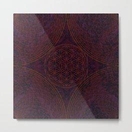 'Nirvana's Within' Burgundy Purple Red Gold Bohemian Design Metal Print