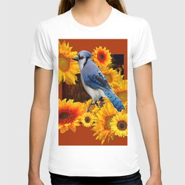 COFFEE BROWN SUNFLOWERS  & BLUE JAY T-shirt