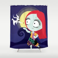 nightmare before christmas Shower Curtains featuring Sally from Nightmare before Christmas  by Piccolinart