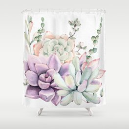 Succulents Mint and Purple by Nature Magick Shower Curtain