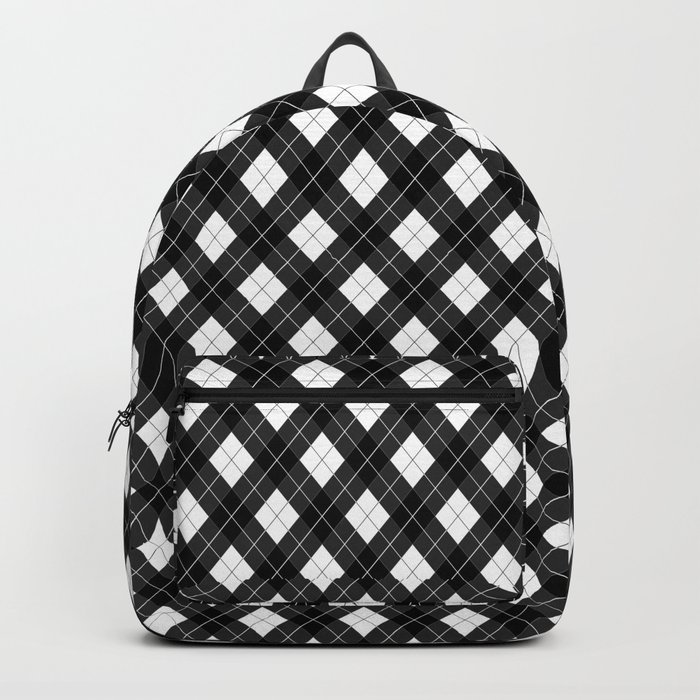 Black White and Gray Argyle Plaid Pattern Backpack