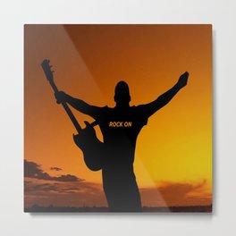 Sunset Guitar Man Silhouette Metal Print