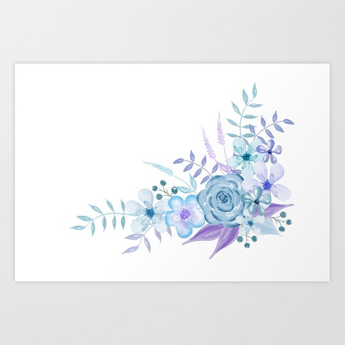 Watercolor Flowers Blue And Purple Art Print By Camloft