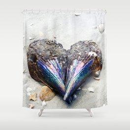 Heart Shell on Sand Shower Curtain