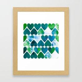 Mod Green & Blue Grungy Hearts Design Framed Art Print