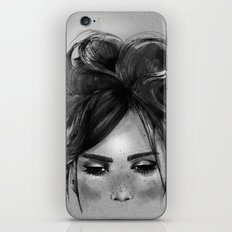 Sweet freckles girl face iPhone & iPod Skin