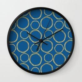 Bright Blue & Gold Circles Modern Pattern Wall Clock