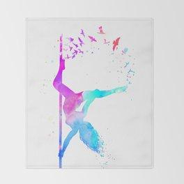 watercolor pole dance  Throw Blanket