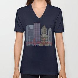 Portland skyline poster Unisex V-Neck