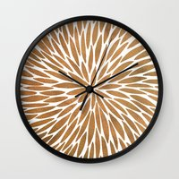 rose gold Wall Clocks featuring Rose Gold Burst by Cat Coquillette
