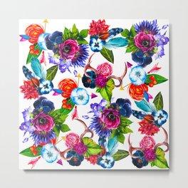 Bohemian Watercolor Flowers Deer Antlers Leaves Metal Print