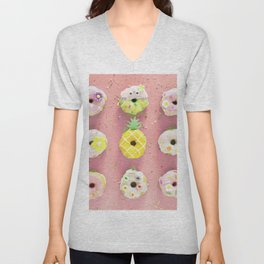 Colorful Donuts Print Pink Background Unisex V-Neck