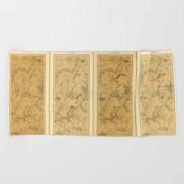 Battle of Gettysburg Field of Operations Map (July 3, 1863) Beach Towel